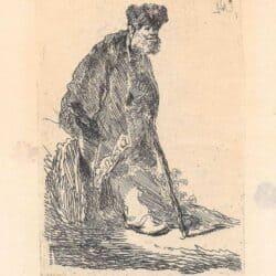 Rembrandt ets, Bartsch B. 151, Staande man met een lange mantel en bontmuts, leunend tegen een heuveltje