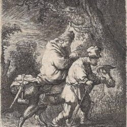 Rembrandt etching, Bartsch B. 52, copy in reverse, The flight into Egypt: the small plate