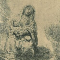 Rembrandt, Bartsch B. 62, Etching, Virgin and child in the clouds