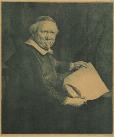 Rembrandt, ets, Bartsch B. 283, Portret van Lieven Willemsz van Coppenol, bekend als 'de grote Coppenol' (1599 - na 1677)