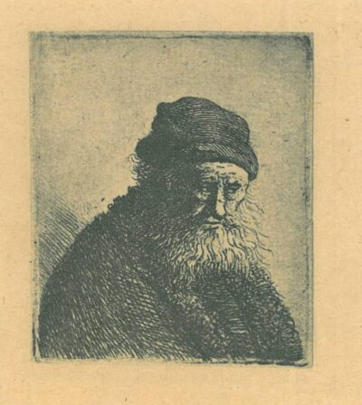 Rembrandt, Etching, Bartsch B. 337, Bust of an old man with a white beard
