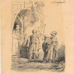 Rembrandt etching, Bartsch B. 118, New Hollstein 190, copy e, Three oriental figures [Jacob and Laban?]