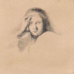 Rembrandt ets, Bartsch 367, Studie van een vrouwenhoofd, New Hollstein 162, copy F, II(2)