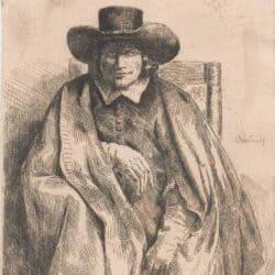Rembrandt ets Bartsch B. 272, New Hollstein 264, De prentverkoper Clement de Jonghe (1624/25-1677)