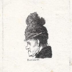 Rembrandt etching, Bartsch B. 326, New Hollstein 35, copy b, GROTESQUE PROFILE: MAN IN A HIGH CAP