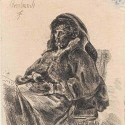 Rembrandt etching, Bartsch B. 343, New Hollstein 91, The artist's mother seated at a table, looking right: three-quarter length