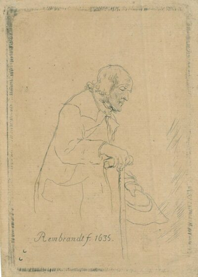 Etching by Claussin after Rembrandt drawing,