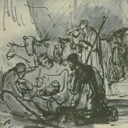 Drawing, Rembrandt or Carel Fabritius, de aanbidding der herders, Schatborn 62