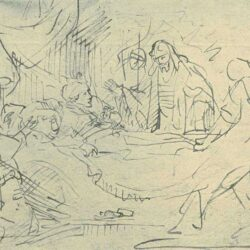Drawing by Rembrandt or Jan Victors, Raising of the Daughter of Jairus,