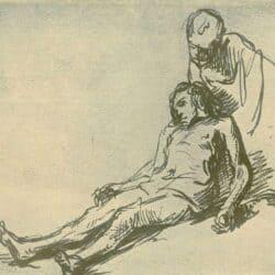 Rembrandt drawing or Govert Flinck, De barmhartige Samaritaan Benesch C4, Schatborn 85