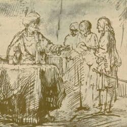 Rembrandt drawing, willem drost, The Roman Centurion Cornelius Sending his Men to Joppa, Benesch, C 65