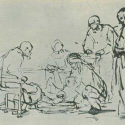 Rembrandt Drawing, Christ Washing the Disciples' Feet; Benesch, 931; Schatborn 25