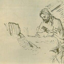 School of Rembrand drawing of Christ at a table with a woman, Benesch A 88