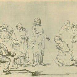 Drawing Rembrand, Samuel van Hoogstraten, Christ Appears to the Doubting Thomas, Schatborn 86; Benesch 869