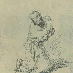 Rembrandt, tekening, De heilige Hiëronymus in gebed;